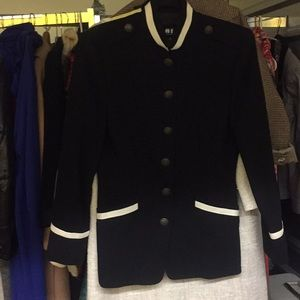 DKNY black blazer with white trim